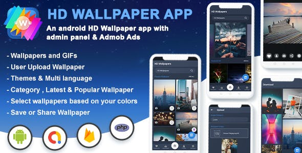 Android HD Wallpapers App-Image & Gif Support With Admin Panel