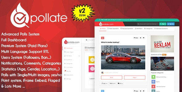 Pollate - Premium Polls and Voting Platform - CodeCanyon Item for Sale