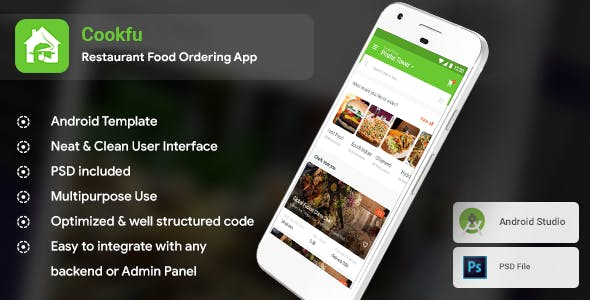 Multi Restaurant Food Delivery & Ordering Android App Template 3 Apps  Cookfu (XML Code)