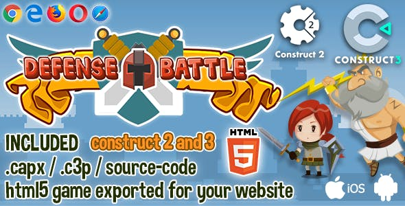 Defense Battle HTML5 Game - Construct 2 & 3 Source-code