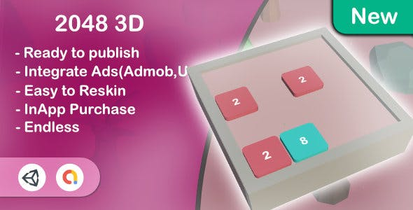 2048 - 3D (Unity Template+Admob+Android+iOS)