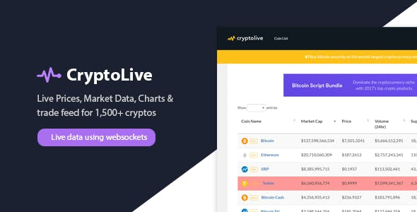 CryptoLive - Realtime Cryptocurrency Market Cap, Prices & More (+Free WP Plugin)
