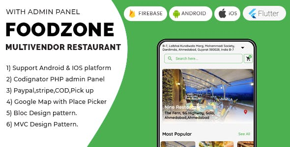 FoodZone Multivendor Mobile Application in Flutter with PHP Admin Panel