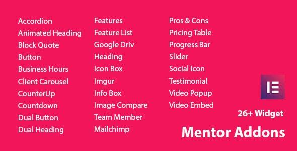 Mentor Addons - Addon For Elementor Page Builder