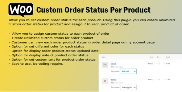 WooCommerce Order Status Per Product - CodeCanyon Item for Sale