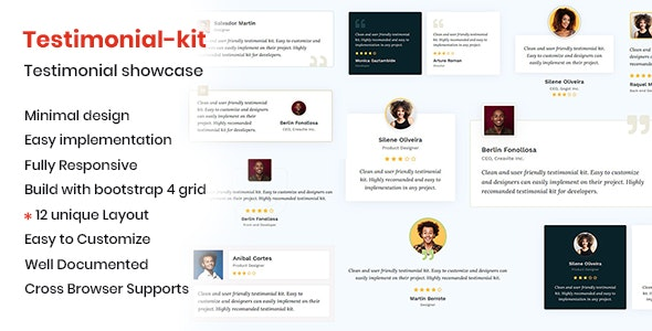 Testimonial-kit - Minimal testimonial showcase - CodeCanyon Item for Sale