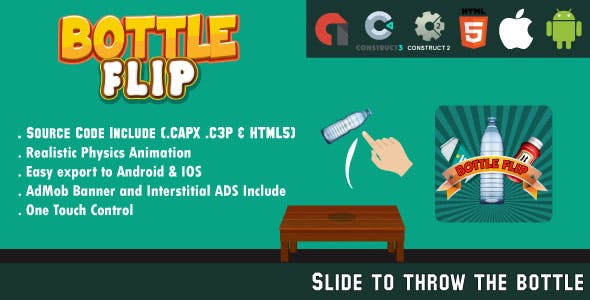 Bottle Flip Challenge - HTML5 Game - Android & IOS + AdMob (HTML5, CAPX & C3P)