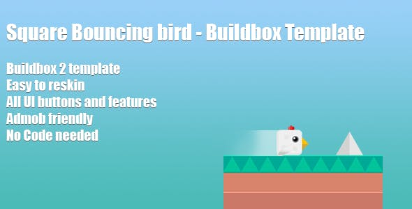 Square bouncing bird - Buildbox template