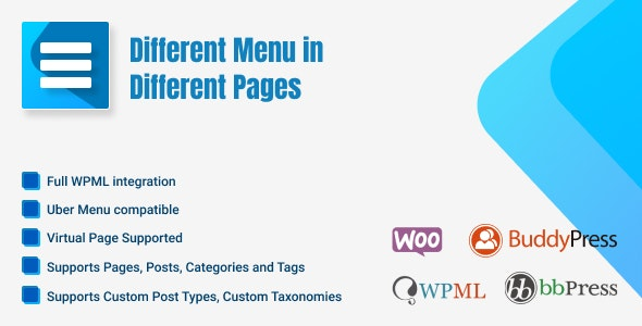 Different Menu in Different Pages - CodeCanyon Item for Sale