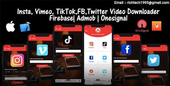 All in one Saver - Facebook, Instagram, tiktok , twitter | Admob | Firebase | Onesignal | IOS