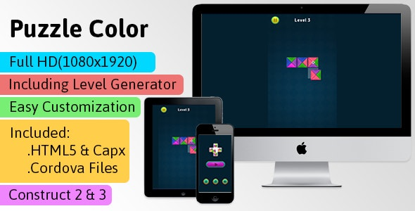 Puzzle Color - HTML5 Game (Construct 2 | Construct 3 | Capx | C3p) - Puzzle Game str8face - CodeCanyon Item for Sale