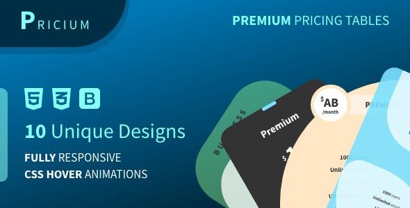 Pricium Pricing Tables