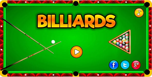 Billiards - HTML5  Sport Game Mobile and Desktop