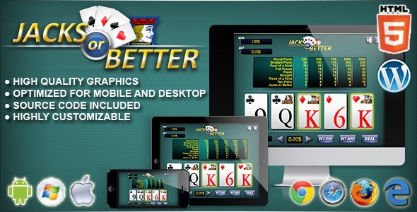 Video Poker Jacks or Better - HTML5 Casino Game - CodeCanyon Item for Sale