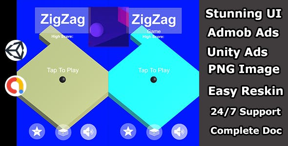 Zigzag ball jumping game unity source code