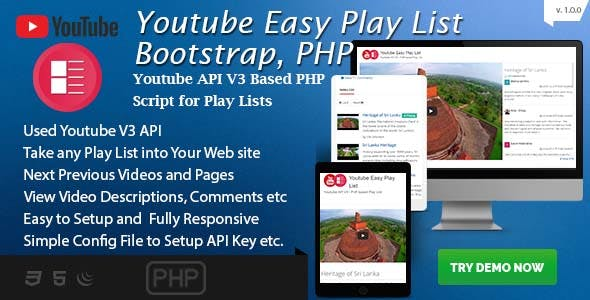 Youtube Easy Play List  - Bootstrap based PHP Script