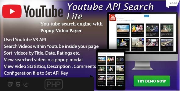 Youtube API Search Lite with Multi Pages - Simple PHP Integration - CodeCanyon Item for Sale