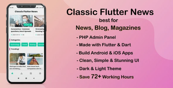 Classic Flutter News App best for News, Blog and Magazines - CodeCanyon Item for Sale