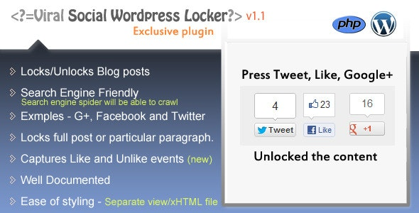 Social Content Locker for Wordpress  - CodeCanyon Item for Sale