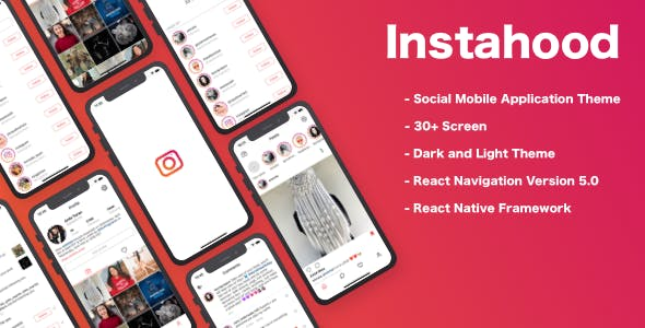 Instahood Social App Theme (Instagram clone) React Native