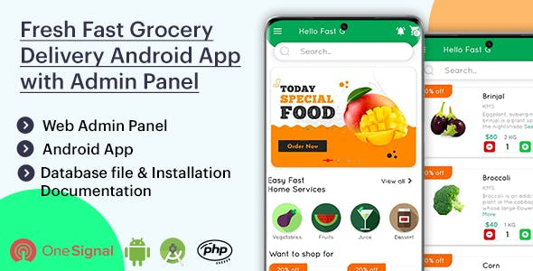 Fresh Fast Grocery Delivery Android App with Interactive Admin Panel