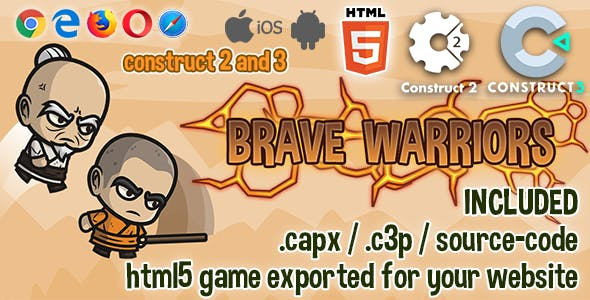 Brave Warriors HTML5 Game - Construct 2 & 3 Source-code
