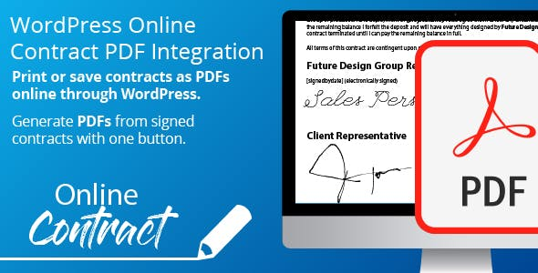 WP Online Contract PDF Print Integration