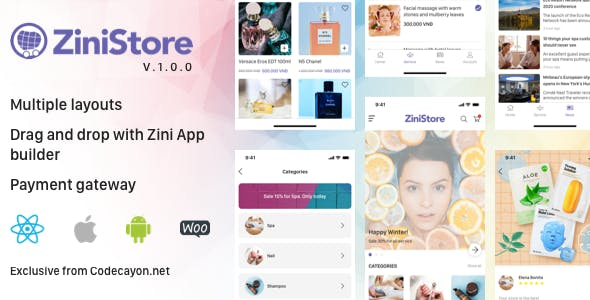 ZiniStore - Full React Native Service App for Woocommerce