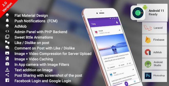 Anonymous Social Network Android App with PHP (Laravel) Backend | Complete App | Foxy