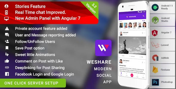 Social Media Sharing Android App with Angular Admin | Laravel (PHP) Backend | Complete App | WeShare