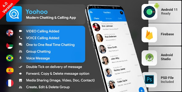 Android Chatting App with Voice/Video Calls, Voice messages + Groups -Firebase | Complete App|YooHoo - CodeCanyon Item for Sale