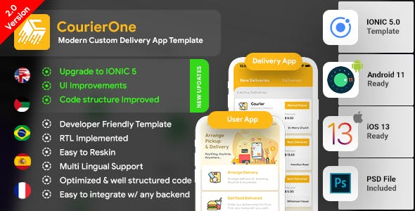 Modern Courier Delivery Android App Template + Courier iOS App Template | IONIC 5 | CourierOne