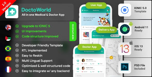 Nearby Doctor Android App Template + Doctor iOS Template |3 Apps (User+Doctor +Delivery) | IONIC 5|