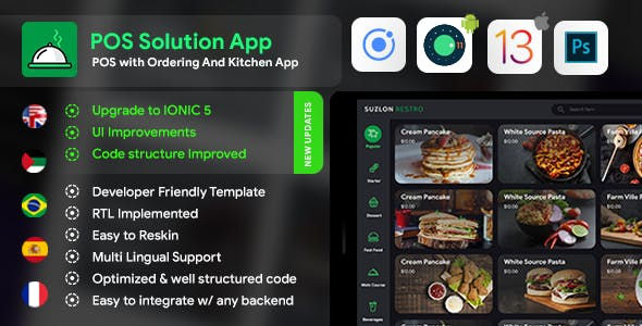 Restaurant Kitchen App + Restaurant Menu App+ Restaurant POS Web App Template| Android+iOS | IONIC 5