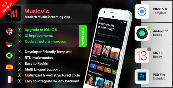 Music Android App Template + Music iOS App Template| Songs App| Streaming App| IONIC 5 | Musicvic