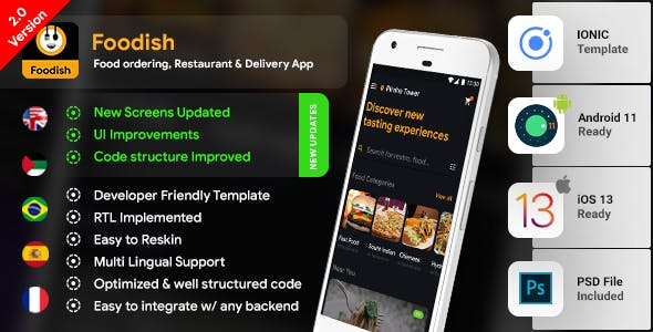 Food Ordering App| 3 Apps| Android App Template + iOS App Template |Foodish|IONIC 5