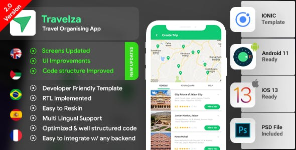 Travel Organiser Android App Template + Travel iOS App Template | Travel App| Travelza| IONIC 3
