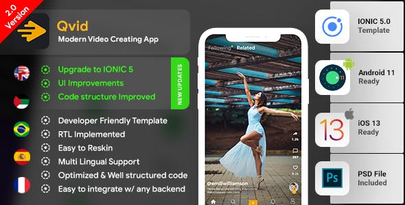 TikTok| Video Creating Android App + Video Creating iOS App Template|Video Sharing App| Qvid|IONIC 5