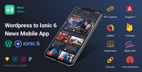 Deco News - Ionic 6 Mobile App for Wordpress, Angular 9, Sass, Firebase, AdMob, OneSignal