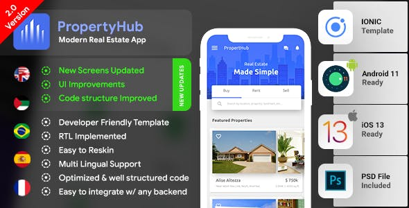 Real Estate Android App Template + Real Estate iOS App Template| PropertyHub(HTML+CSS files IONIC 3)