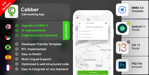Cab Booking Android + iOS App Template | 2 Apps Rider+Driver | HTML+CSS IONIC 5 | Cabber
