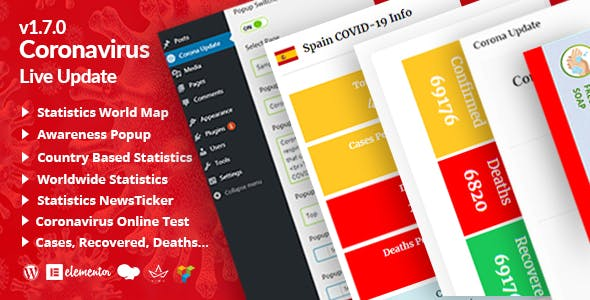Corona Updatepro | COVID-19 Statistics Live Tracking / Update for WordPress