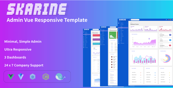 Skarine -Admin Vue Responsive Template - CodeCanyon Item for Sale