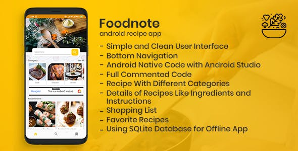 Foodnote Recipe App for Android SQLite