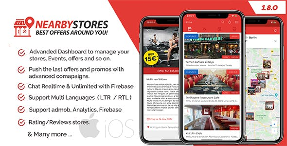 NearbyStores iOS - Offers, Events & Chat Realtime + Firebase 1.8