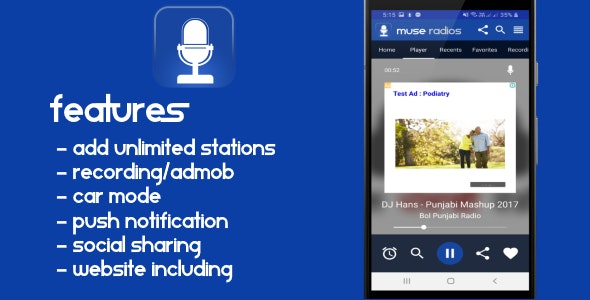 Radio Android App with website - CodeCanyon Item for Sale