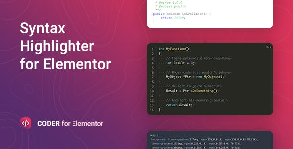 Coder – Syntax Highlighter for Elementor
