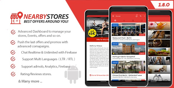 NearbyStores Android - Offers, Events & Chat Realtime + Firebase 1.8 - CodeCanyon Item for Sale