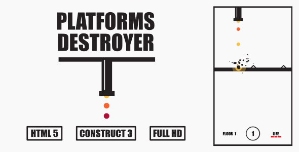 Platforms Destroyer - HTML5 Game (Construct3) - CodeCanyon Item for Sale