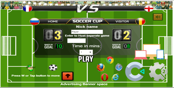 Soccer star Online Multiplayer, HTML5 game (Construct 2/ Construct 3) capx